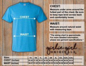 Girlie Girl Originals T-Shirts Size Chart