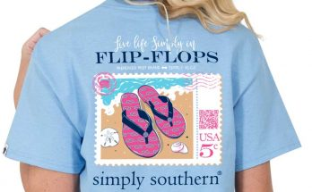 Simply Southern Preppy Collection Tee Flip Flops T-Shirt For Women In Blues