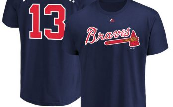 #13 Ronald Acuña Jr. Atlanta Braves Majestic Official Name & Number Navy T-Shirt