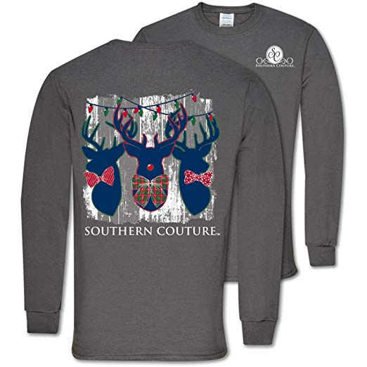 Southern Couture Christmas Shirt Deer Trio Antlers Color Charcoal Long Sleeve