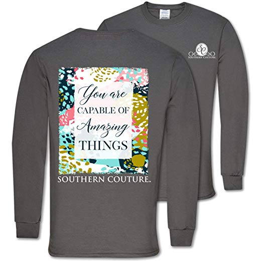 Southern Couture Shirt Capable Of Amazing Things Color Charcoal Long Sleeve