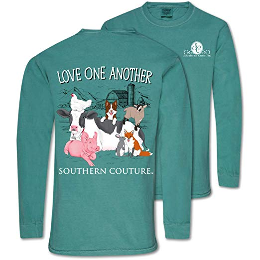 Southern Couture Comfort Color Shirt Animals Love One Another Color Seaform Long Sleeve