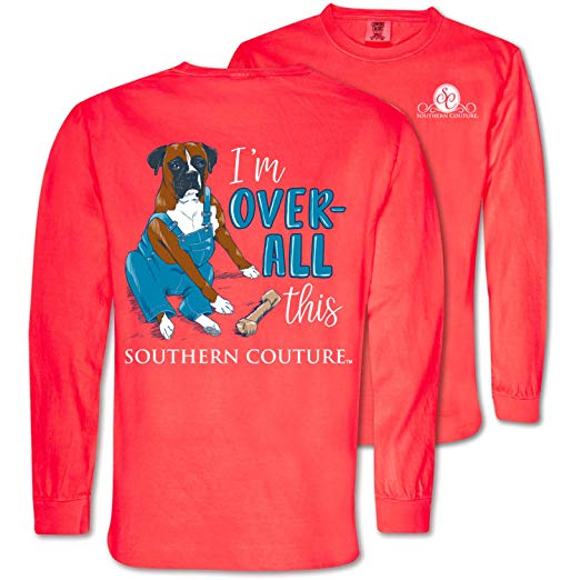 Southern Couture Comfort Color Shirt Dog Bone - Overall This - Color Neon Red Orange Long Sleeve