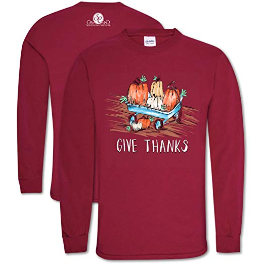 Southern Couture Thanksgiving Shirt Give Thanks Color Cardinal Long Sleeve