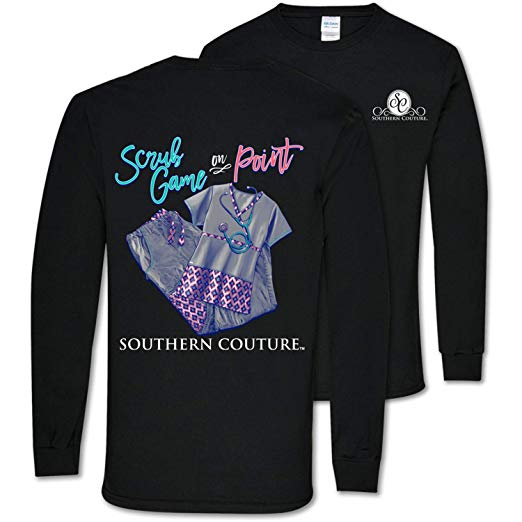 Southern Couture Shirt Nurse Scrub Game On Point Color Black Long Sleeve