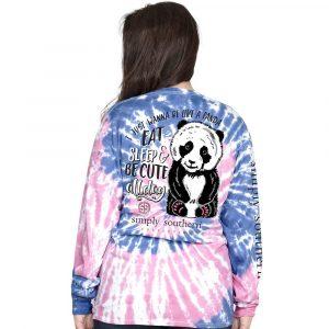 Simply Southern Long Sleeve T-Shirt -Preppy Panda Taffy Tie Dye Pattern