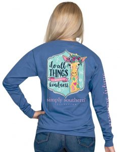 Simply Southern Long Sleeve Shirt - Giraffe - Do All Things With Kindness