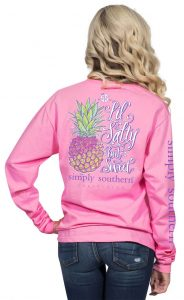 Simply Southern Long Sleeve Shirt Preppy - Pineapple - Lil Salty But Sweet