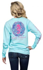 Simply Southern Long Sleeve Shirt Preppy Design - Seahorse Color Marine