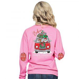 Simply Southern Christmas Shirts 2018 Santa Van Pink