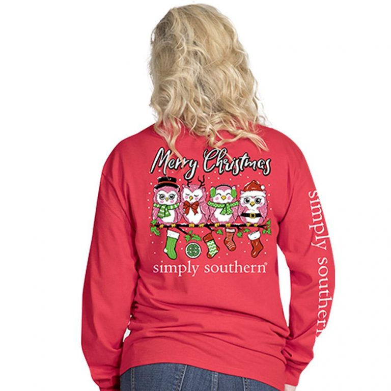 Simply Southern Christmas Shirts 2018 Owl Santa Red
