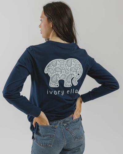 Ivory Ella Fit Dark Navy Paisley Long Sleeve T-Shirt