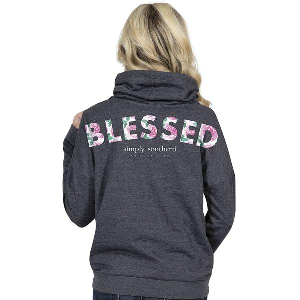 Simply Southern Cowl Neck Pullover - Blessed