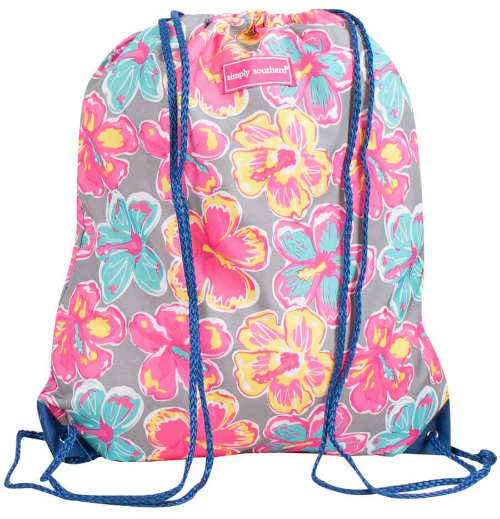 Simply Southern Preppy Collection Floral Drawstring Bag