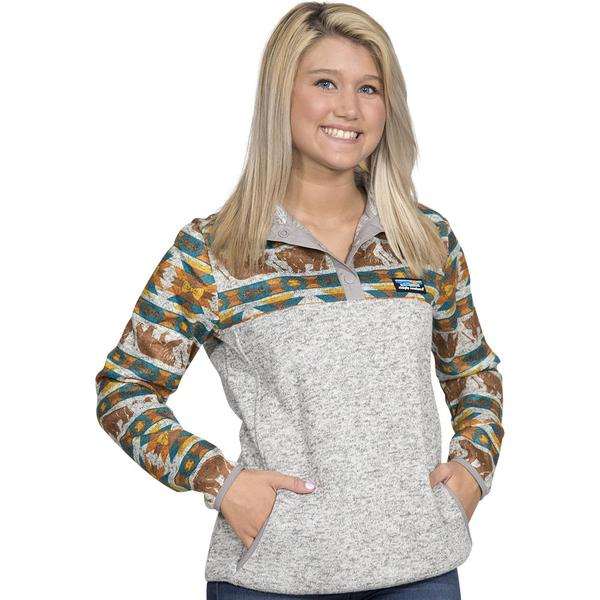 Simply Southern Printed Sweater Fleece Pullover Color Bear Aztec