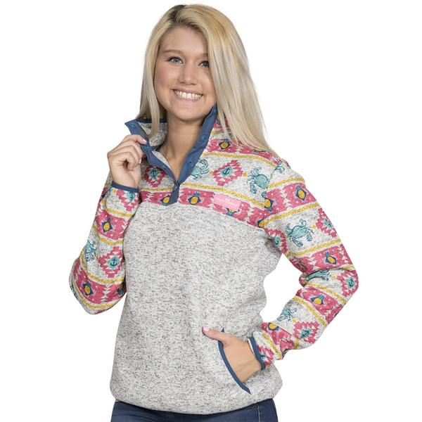 Simply Southern Printed Sweater Fleece Pullover Color Crab Aztec