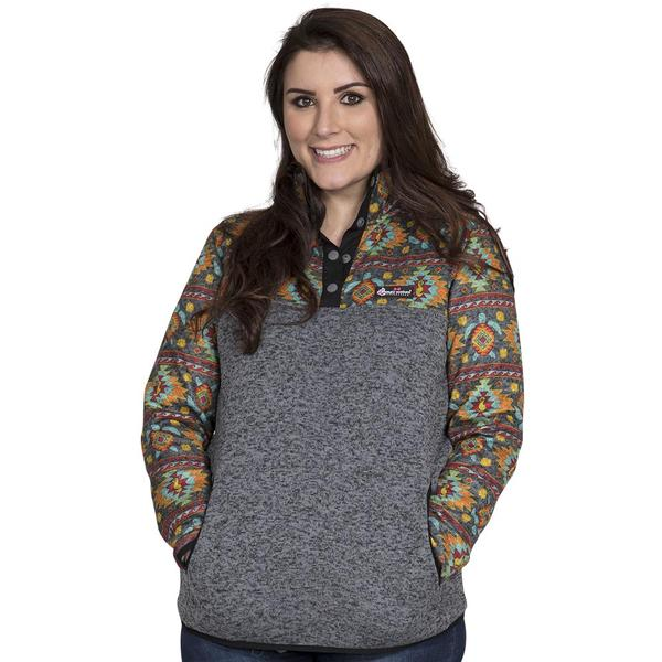 Simply Southern Printed Sweater Fleece Pullover Color Turtle Aztec