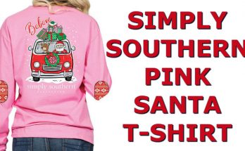 Simply Southern Santa Shirt Christmas Color Pink