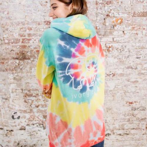Ivory Ella Oversized Rainbow Tie-Dye Hoodie