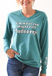 Jadelynn Brooke Long Sleeve V Neck Women T-Shirt Indoorsy