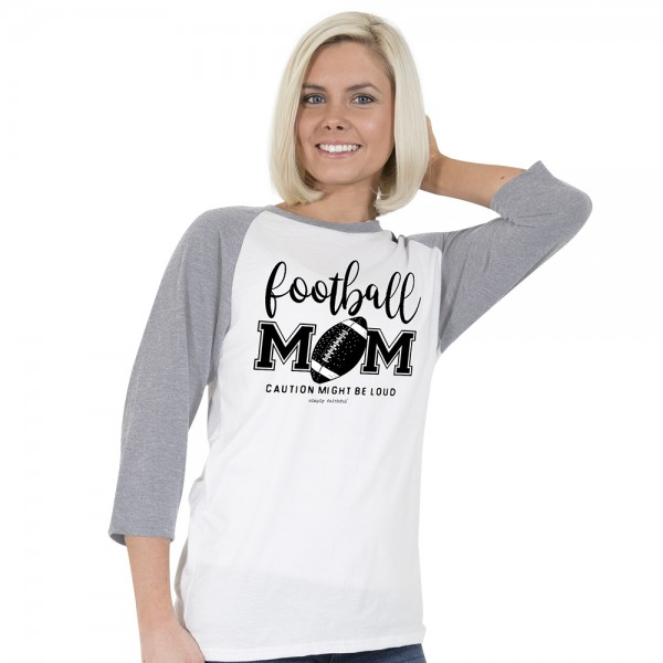 Simply Southern Faithful Baseball Raglan Shirt Football Mom Women Color White Grey