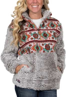 Simply Southern Sherpa Pullover Frosty Tipped Turtle Design In Grey