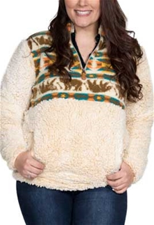 Simply Southern Sherpa Pullover Frosty Tipped In Bear Design Color Cream