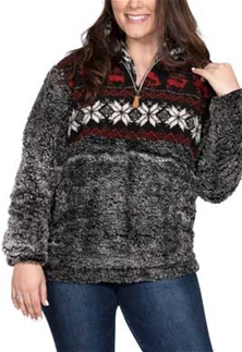 Simply Southern Sherpa Pullover Frosty Tipped In Deer Design