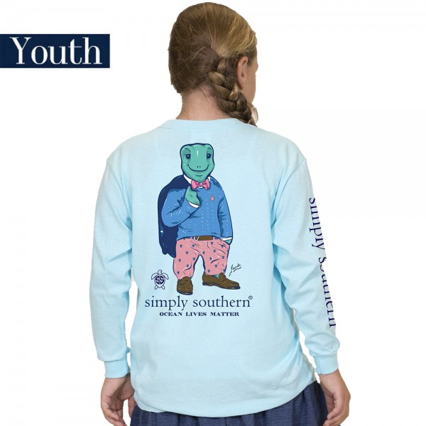 Youth Simply Southern Logo Jack Turtle Shirt - Ocean Lives Matter - Long Sleeve T-Shirt