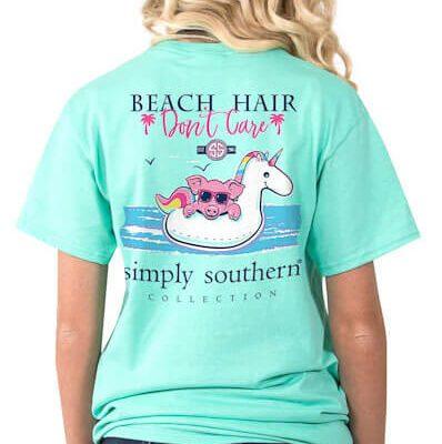 Simply Southern Beach Hair Don T Care Shirt Tee For Women In Aqua