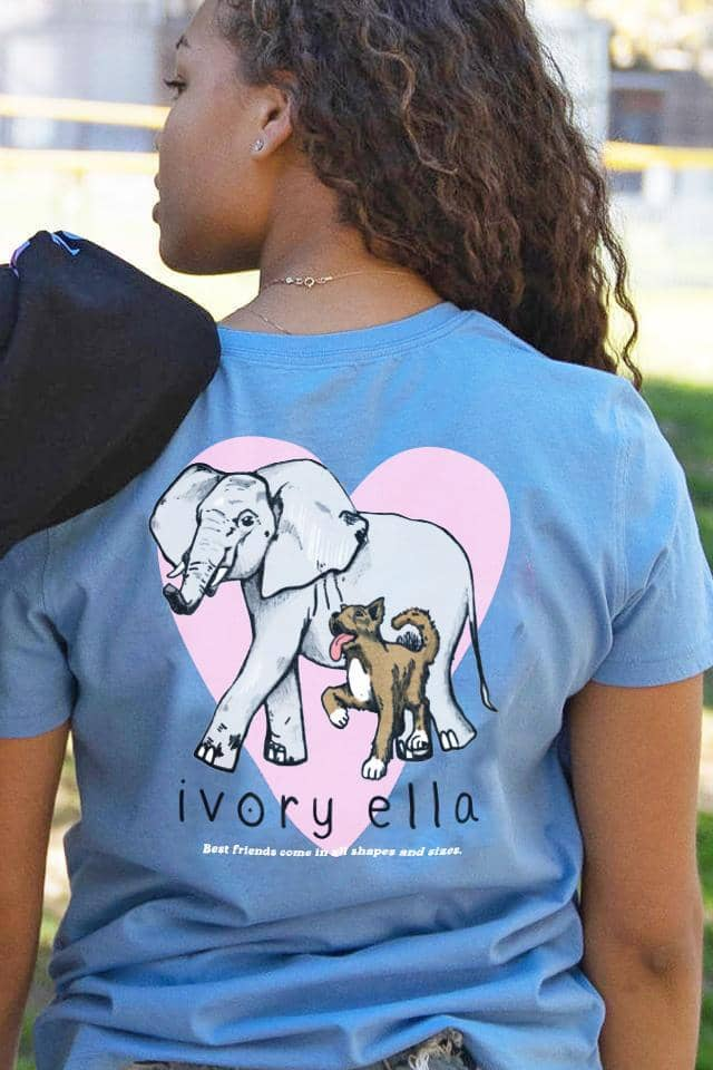 Ivory Ella T-Shirt - Besties Friends - Elephant Dog Heart Love - Blue