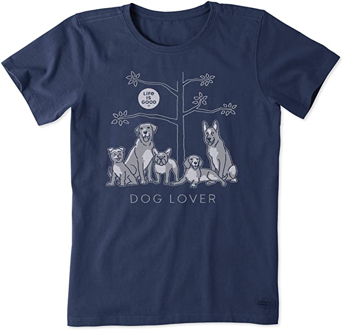 Life Is Good Women T-Shirt - Dog Lover - Darkest Blue