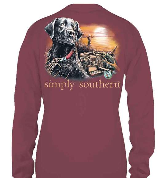 Simply Southern Men Long Sleeve T-Shirt - Lake Dog - Maroon