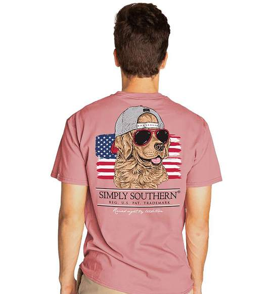 Simply Southern Men T-Shirt - Dog In Sunglasses And Cap - USA Flag