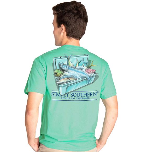 Simply Southern Men T-Shirt - Fishing Cooler - Green Sea