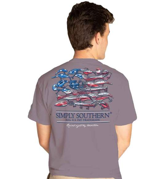 Simply Southern Men T-Shirt - Fishing Lure - USA Flag - Grey Plum
