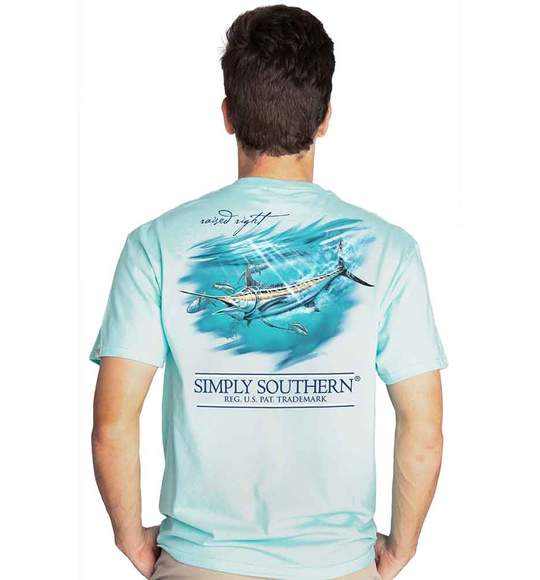 Simply Southern Men T-Shirt - Marlin Deep Sea Fishing - Ice Blue