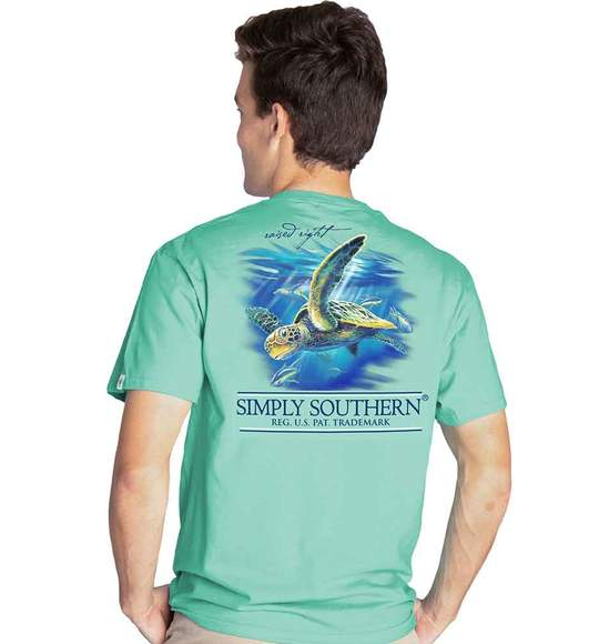 Simply Southern Men T-Shirt - Turtle Deep Sea - Green Sea