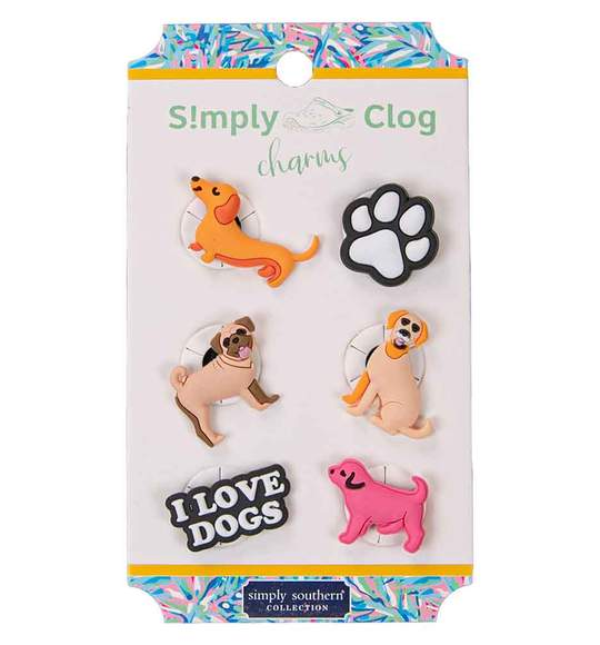 Simply Southern Women Clog Charms - Love Dogs - Dog Charms - Pack Six