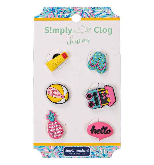 Simply Southern Women Clog Charms - Summer Flip Flops Beach Ice Cream