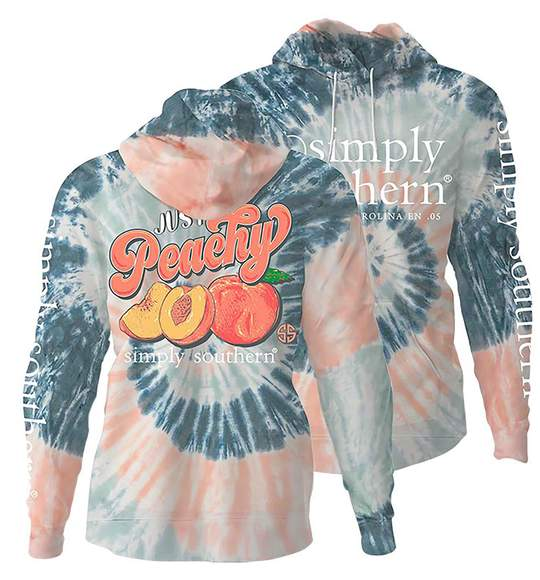 Simply Southern Women Hoodie - Just Peachy - Peaches - Pastel Colors