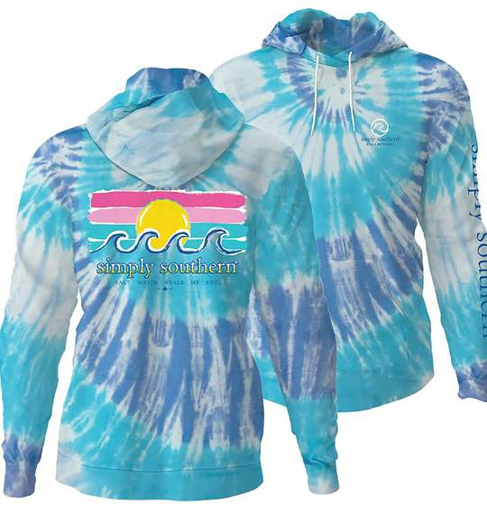 Simply Southern Women Hoodie - Ocean Waves And Sun - Sky Blue Colors