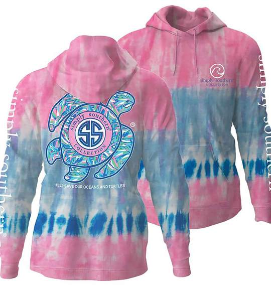 Simply Southern Women Hoodie - Save The Turtles And Oceans - Candy Colors