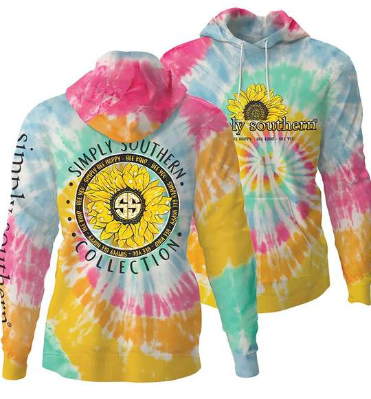 Simply Southern Women Hoodie - Simply Be Happy - Sunflower - Tie Dye Colors