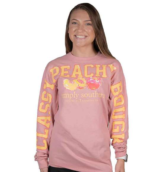 Simply Southern Women Long Sleeve Jersey T-Shirt - Classy Peachy Peach