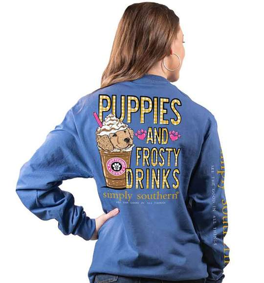 Simply Southern Women Long Sleeve T-Shirt - Puppies Dog Frosty Drinks - Blue Moonrise