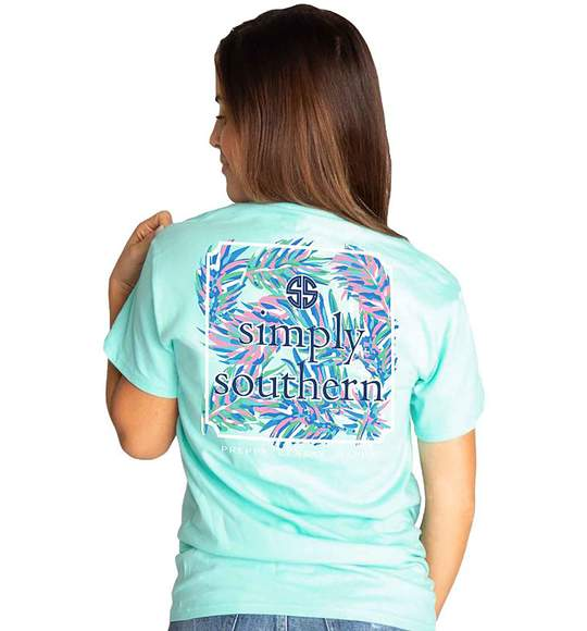 Simply Southern Women T-Shirt - Abstract - Leaves - Surf Blue