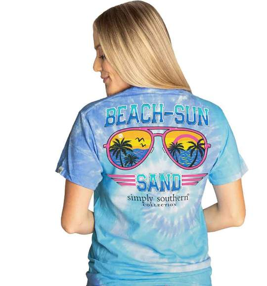 Simply Southern Women T-Shirt - Aviator Beach Sun Sunglasses Sand - Tide