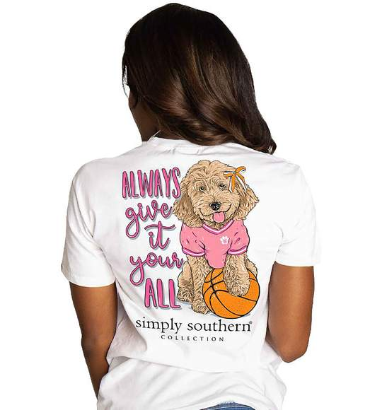 Simply Southern Women T-Shirt - Basketball Dog - Always Give It Your All