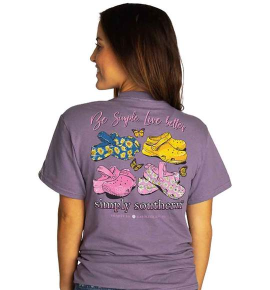 Simply Southern Women T-Shirt - Be Simple Live Better - Shoes Clogs - Plum Purple